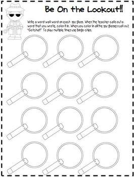 Word Wall Bingo Printables