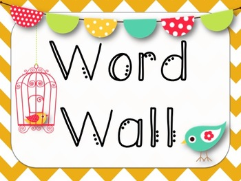 Word Wall *Bird & Chevron* {Kindergarten}