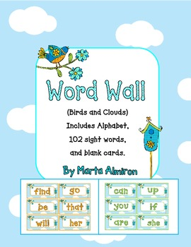 Word Wall - Birds and Clouds with EDITABLE Pages