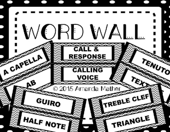 Music Word Wall - Black & White Chevrons