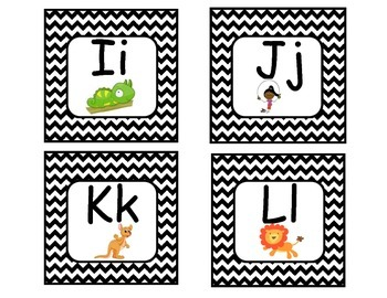 Word Wall- Black and White Chevron  Letters