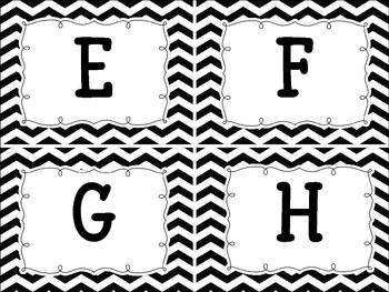 Word Wall Black and White Chevron Word Wall/Alphabet Letters
