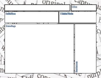 Word Wall Blank Form