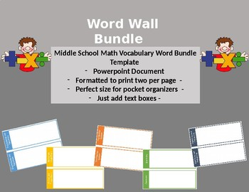 Word Wall Blank Template Middle School Math
