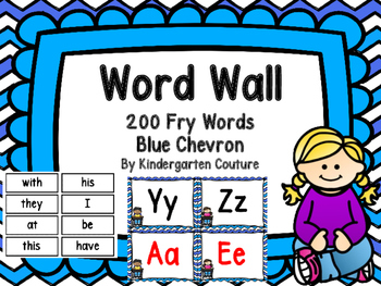 Word Wall Blue Chevron and 200 Fry Words