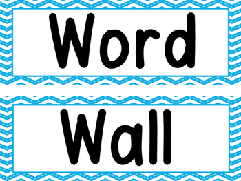 Word Wall Blue Stitched Chevron And 200 Fry Words