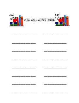Word Wall Book Hunt
