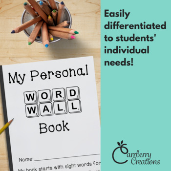 Portable Word Wall Book for Student Desks and Writing Centers