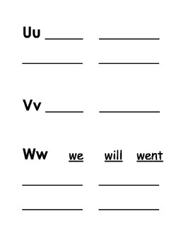 Word Wall Booklet for Kindergarten, First, and Second Grade