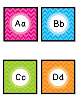 Word Wall - Bright Chevron - Editable