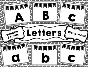Word Wall - Bulletin Board Letters - black and white polka