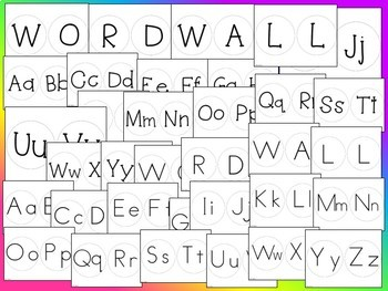 "Word Wall Bulletin Board Set Header and Alphabet Letters 5"" Black and White"
