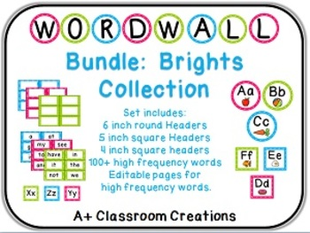 Word Wall Bundle:  Brights with labels, headers, 100+ words {Editable}