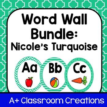 Word Wall Bundle:  Nicole's Turquoise **Editable**