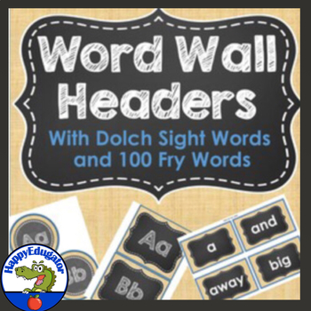Dolch Sight Words Burlap and Chalkboard Word Wall {Editable} and Fry First 100
