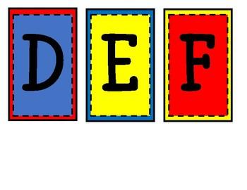 Word Wall Card- red/blue/yellow superhero