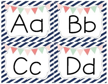 Word Wall Headers- Diagonal Stripes