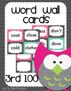 Word Wall Cards 3rd 100 Instant Sight Words