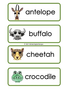 Word Wall Cards - African Safari Animals