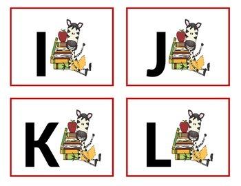 Zebra Word Wall Letters - Alphabet Flashcards.