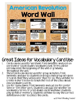 Word Wall Cards: American Revolution