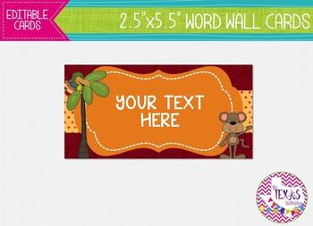 Word Wall Cards - Animal Theme {EDITABLE}