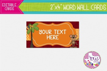 Word Wall Cards - Animal Theme {EDITABLE}