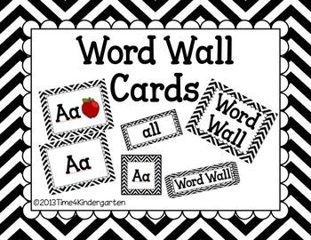 Word Wall Cards Black Chevron- Editable