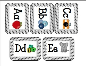 Word Wall Cards (Black Stripes) Editable