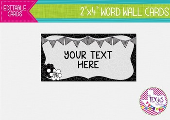 Word Wall Cards - Black and White, Chevron {EDITABLE}
