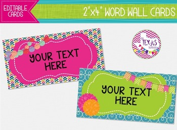 Word Wall Cards - Bubblegum Pink, Lime Green and Chevron {EDITABLE}