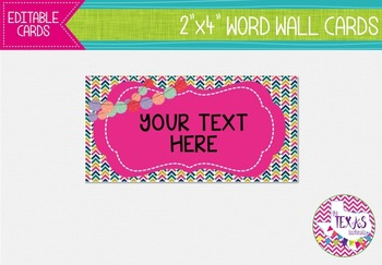 Word Wall Cards - Bubblegum Pink and Chevron {EDITABLE}