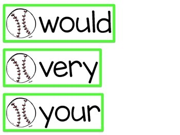 Word Wall Cards {Dolch 2nd Grade} {Baseball}