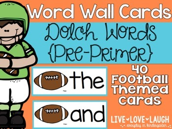 Word Wall Cards {Dolch Pre Primer} {Football}