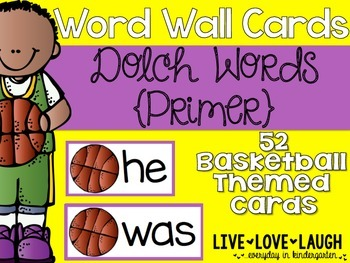 Word Wall Cards {Dolch Primer} {Basketball}