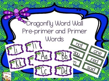 Word Wall Cards-Dragonfly Theme