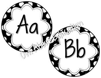 Word Wall Cards - EDITABLE!  {Black and White Polka Dot}