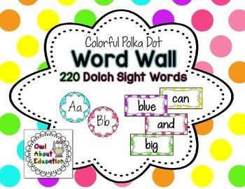 Word Wall Cards - EDITABLE!  {Bright Polka Dot}