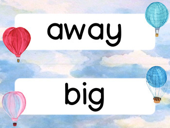 Editable Word Wall  Cards - Sight Words (Hot Air Balloon Watercolor Theme)