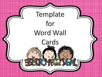 Word Wall Cards -Editable Template