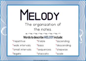 Elements of Music Posters and Worksheets for Middle or Junior High School
