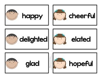 word wall cards feelings words by kathy teachers pay teachers