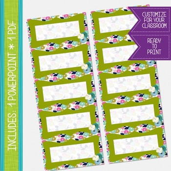 Word Wall Cards - Floral and Olive {EDITABLE}