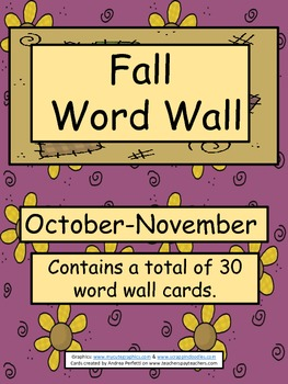 Word Wall Cards For Fall