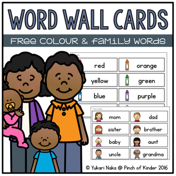 Word Wall Cards: Free Colour & Family Words