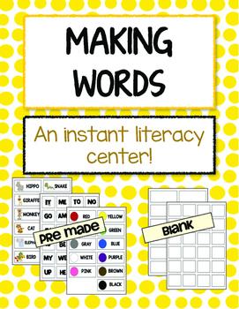 "Reading Center - ""Making Words"" (Great for strengthening Motor Skills too!)"