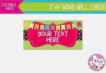 Word Wall Cards - Green, Hot Pink and Black Polkadot {EDITABLE}