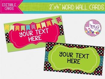 Word Wall Cards - Green, Hot Pink and Black Polkadot {EDITABLE}