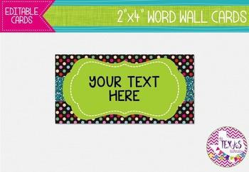 Word Wall Cards - Green and Black Polkadot {EDITABLE}