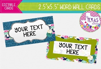 Word Wall Cards - Green and Blue Flowers {EDITABLE}